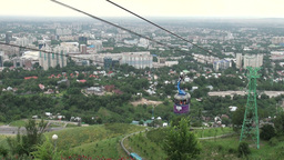 Cable car and Almaty skyline Kazakhstan Footage