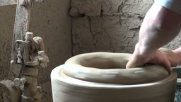 Making ceramic pots in Uzbekistan Footage