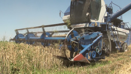 Combine harvester in Central Asia Footage