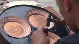 Making copper artefacts in Bukhara Uzbekistan Footage