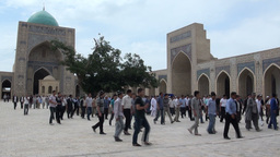 Uzbekistan after Friday prayer in mosque Footage