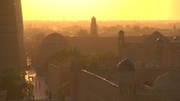Sunset over Silk Road city Uzbekistan Footage