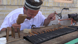 Artist makes beautiful knives in Uzbekistan Asia Footage