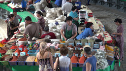Selling spices at Chorsu bazaar Tashkent Footage
