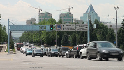 Traffic And Business Centre Almaty Kazakhstan stock footage