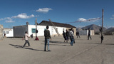 Volleyball in remote village Central Asia Footage