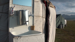 Outdoor sink, early morning, Central Asian yurt Footage