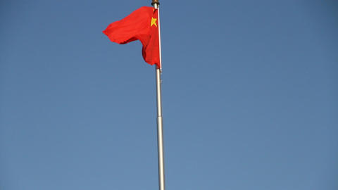 The flag of chinese in Tiananmen square Footage