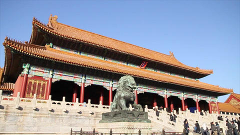 Forbidden city - gate of the supreme harmony on a  Footage