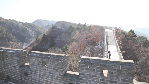 View from great wall of china from the watch tower Footage