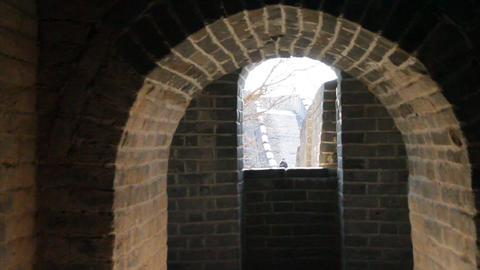 a view of a person on the great wall from inside a Footage