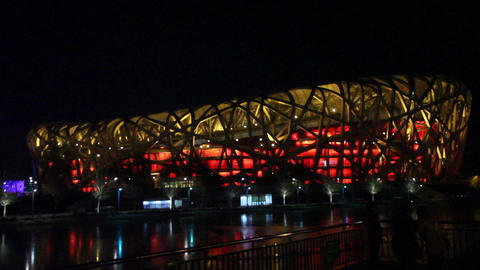 Beijing National Stadium Birds Nest Beijing At Nig stock footage