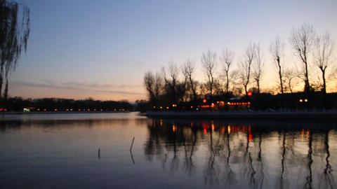 beautiful houhai lake in the evening Footage