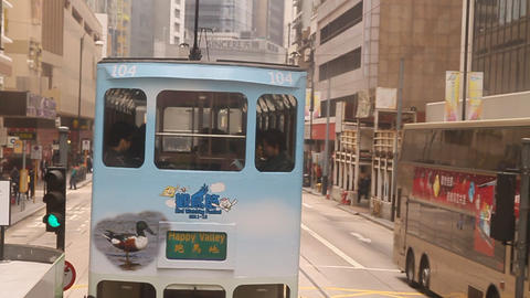 A View From Second Floor Of A Hong Kong Island Bus stock footage