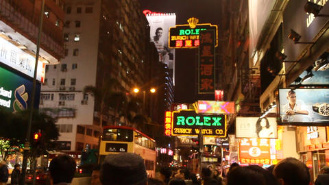 Nathan road, A busy intersection in Hong Kong 2 Footage