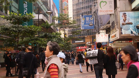 A Daytime Scene In A Busy Shopping Square In Hong  stock footage
