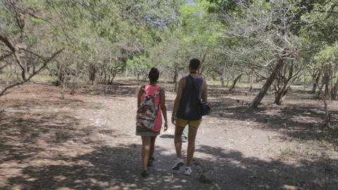 A Couple Doing The Hiking Trail At The Komodo Nati stock footage