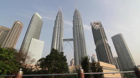 Beautiful Petronas sliding shot early morning Footage