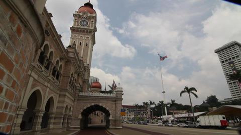 beautiful sliding shot of Merdeka Square with flag Footage