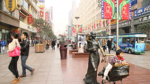 Busy East Nanjing road daytime during christmas wi Live Action
