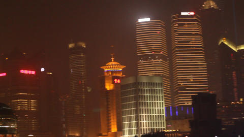 Bund Night Scene - Featuring Iconic Pearl Tower Wi stock footage
