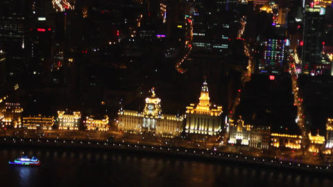 View Of The Bund At Night From The Pearl Tower 2 stock footage