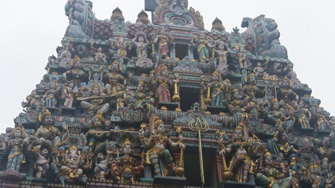 The architecture on a little india temple roof and Footage
