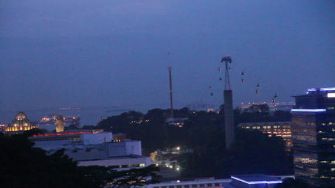 An evening view of the cable car and sentosa from  Footage