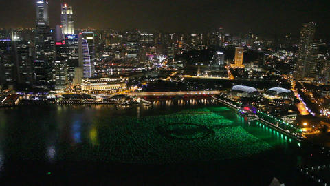 Aerial View Of Marina Bay At Night 2 stock footage