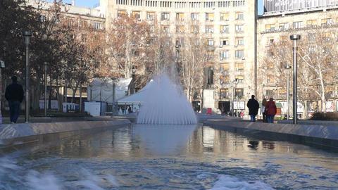 Fountain at Nikola Pasic square in Belgrade, Serbi Footage