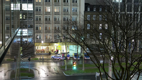 Traffic lights in the center of Dusseldorf at nigh Footage