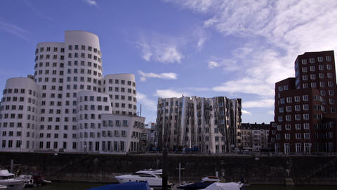The Media Harbor In Dusseldorf, Germany. View Of T stock footage
