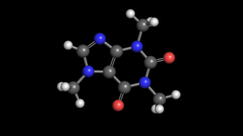 Caffeine Molecule Rotating stock footage