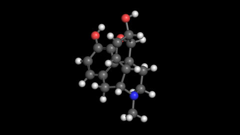 Morphine molecule model rotating Animation