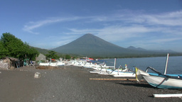 View of the Agung volcano from the beach in Amed,  Footage