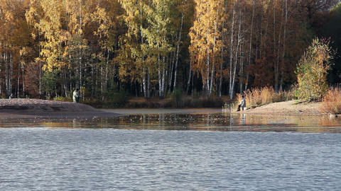 Fishermen On The Lake Shore In Autumn stock footage