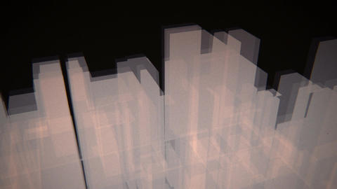 3D cityscape of translucent rectangles pulsating Animation