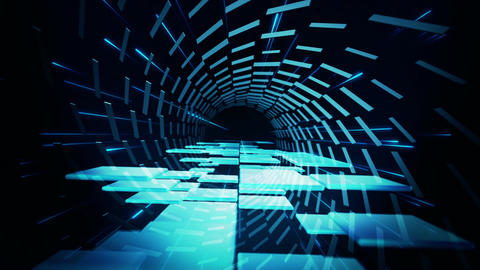 Dancing blue 3D squares inside shifting rectangles Animation