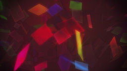 Flying multicolored polygon shapes glowing Animation