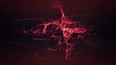 Network of red glowing lines dancing and twisting Stock Video Footage