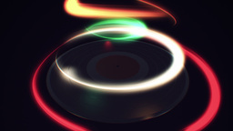 Multicolored light streak over spinning vinyl Animation