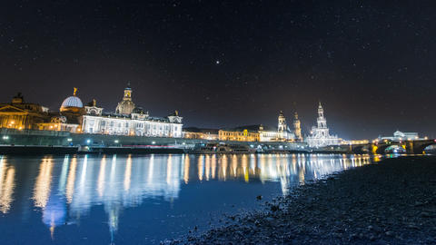 Old City Dresden Night Time Lapse Stars 11314 stock footage