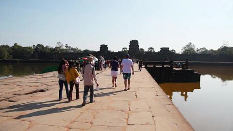 Tourists Visiting Angkor Wat Temple In Cambodia Footage