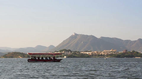 Boat Floating On Pichola Lake In Udaipur India stock footage