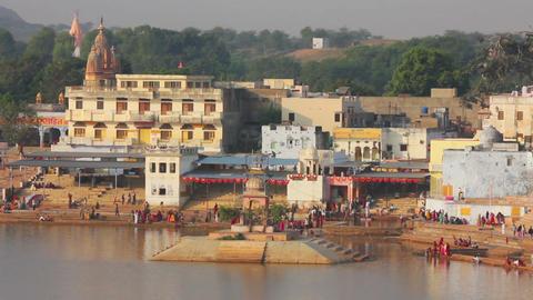 ritual bathing in holy lake - Pushkar India, timel Footage