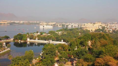 view from funicular on lake and palaces in Udaipur Footage