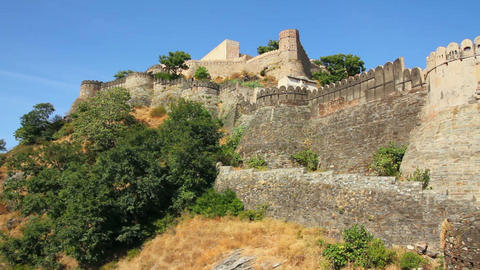 Walls of Kumbhalgarh fort in rajasthan India Footage