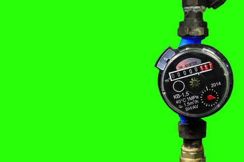 4K. New water meter with green screen, Ultra HD Footage
