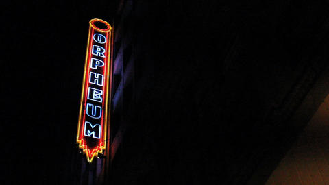 Classic Old Neon Sign At Orpheum Theatre Footage