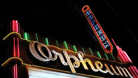 Neon Sign At The Orpheum Theatre Footage